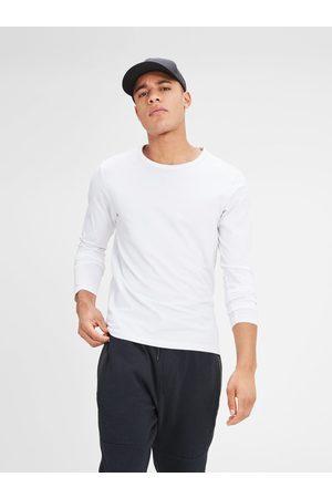 JACK & JONES Bílé basic tričko s dlouhým rukávem Basic