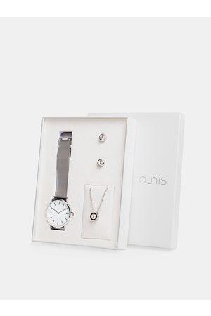 A-NIS Sada dámských hodinek, náušnic a řetízku ve stříbrné barvě