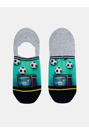 Xpooos Zeleno-šedé pánské nízké ponožky