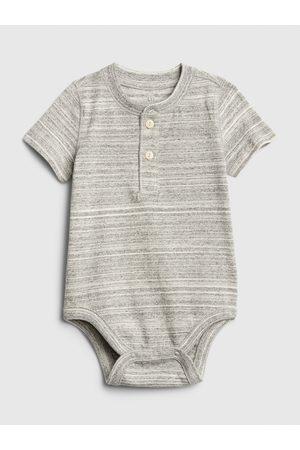 GAP Šedé klučičí baby body henley short sleeve bodysuit