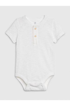 GAP Bílé klučičí baby body henley short sleeve bodysuit