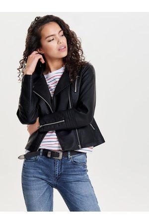 ONLY Ženy Kožené bundy - Černý koženkový křivák Gemma