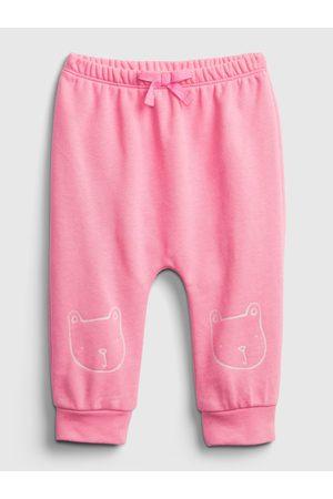 GAP Růžové holčičí baby tepláky Logo brannan bear pull-on pants