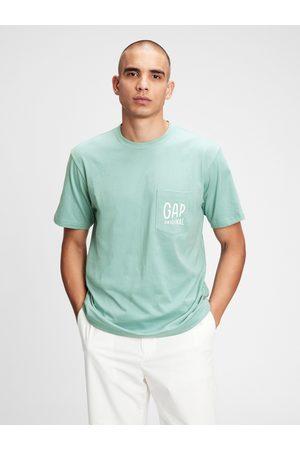 GAP Zelené pánské tričko Logo pocket t-shirt