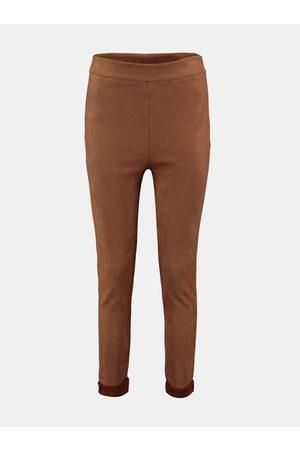 Hailys Hnědé skinny fit kalhoty v semišové úpravě