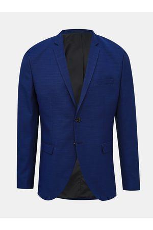 JACK & JONES Modré oblekové sako s příměsí vlny Solaris