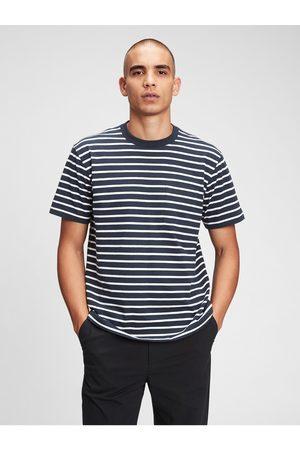 GAP Modré pánské tričko organic cotton pocket t-shirt