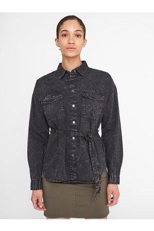 Noisy May Černá žíhaná džínová košile se zavazováním Sandra