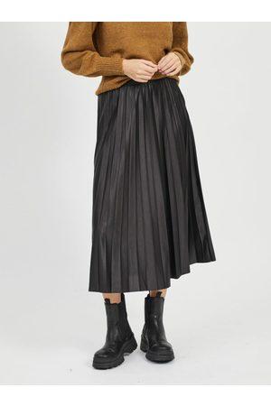 VILA Černá plisovaná midi sukně