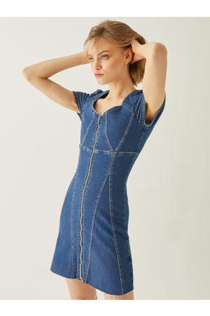 Tally Weijl Modré džínové šaty se zipem