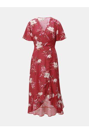 Miss Selfridge Červené květované zavinovací šaty