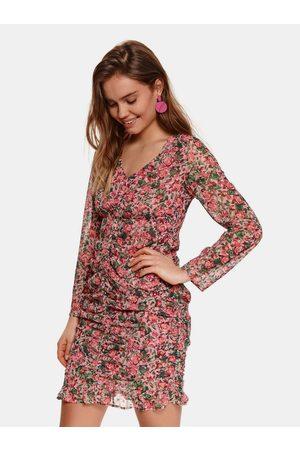Top Secret Růžové květované pouzdrové šaty