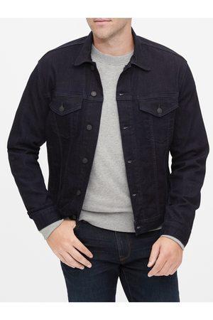 GAP Černá pánská džínová bunda v-flex denim icon dark tint
