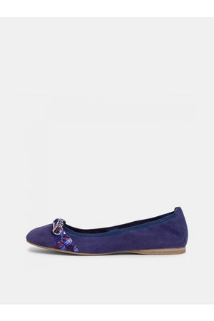 Tamaris Tmavě modré semišové baleríny