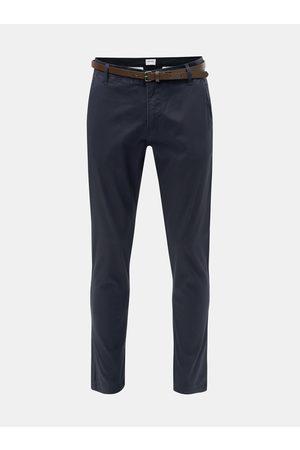 Lindbergh Tmavě modré slim fit chino kalhoty s páskem