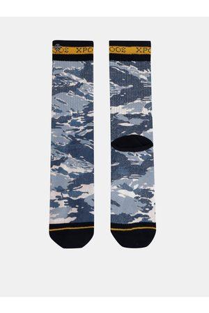 Xpooos Modré pánské vzorované ponožky