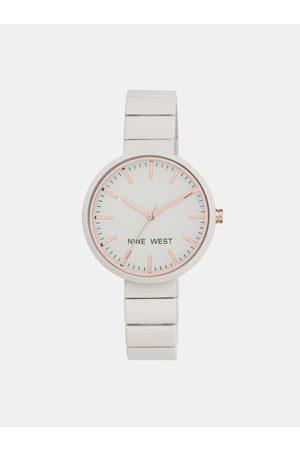 Nine West Dámské hodinky s bílým nerezovým páskem