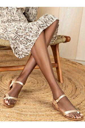 MUSK Béžové dámské lesklé sandály
