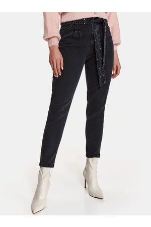 Top Secret Černé zkrácené slim fit džíny se zavazováním