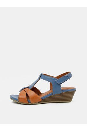 WILD Hnědo-modré kožené sandálky na klínku