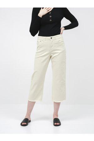 JACQUELINE DE YONG Krémové zkrácené straight fit džíny Tonia