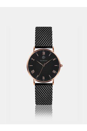 Paul McNeal Unisex hodinky s černým nerezovým páskem