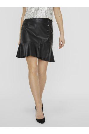 VERO MODA Černá koženková sukně Liv