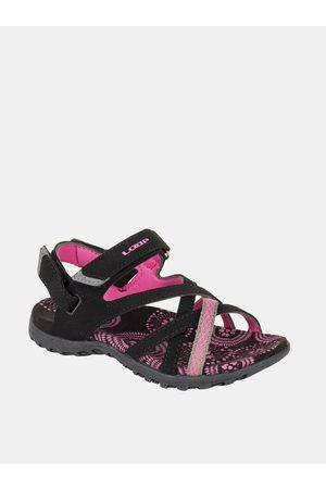 LOAP Růžovo-černé holčičí vzorované sandály