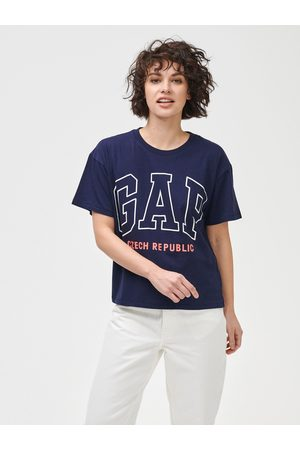 GAP Modré dámské tričko Logo Czeach Republic easy short sleeve tee