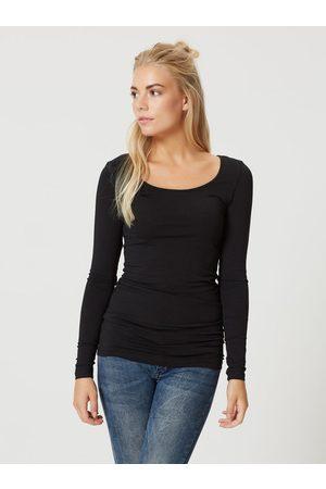 VERO MODA Černé dlouhé basic tričko s dlouhým rukávem Maxi My