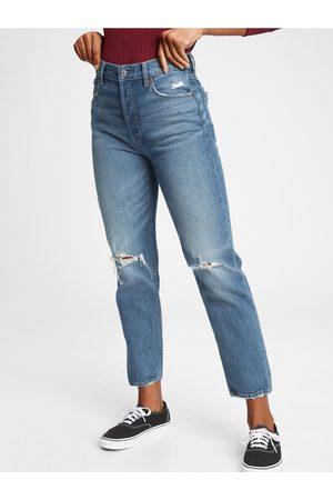 GAP Modré dámské džíny high rise straight khaki