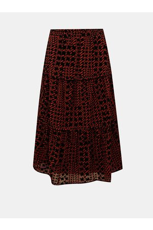 Noisy May Červeno- vzorovaná midi sukně Jane