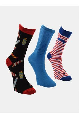 Trendyol Sada tří párů pánských ponožek v černé a modré barvě