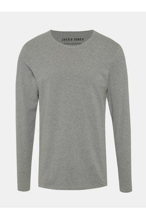 JACK & JONES Šedé basic tričko s dlouhým rukávem Basic