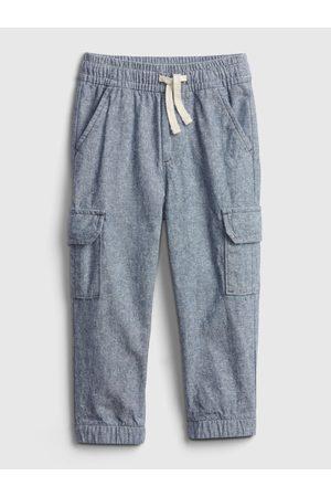 GAP Modré klučičí dětské kalhoty linen cargo jg