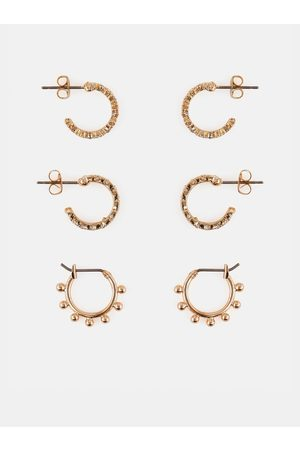 Pieces Sada tří párů náušnic ve zlaté barvě Lona
