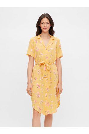 Pieces Žluté květované košilové šaty Trina