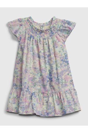 GAP Barevné holčičí dětské šaty floral smocked dress