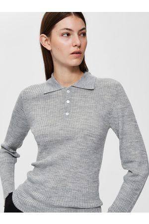 SELECTED Světle šedé vlněné polo tričko Costa