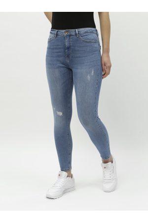 ONLY Modré zkrácené skinny džíny s vysokým pasem Paola