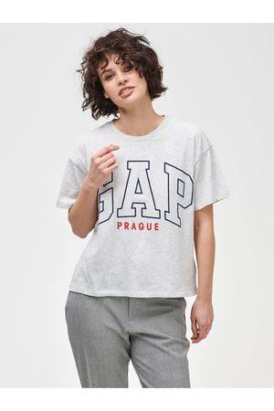 GAP Šedé dámské tričko Logo Prague easy short sleeve tee