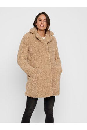 Noisy May Béžový kabát z umělého kožíšku Gabi