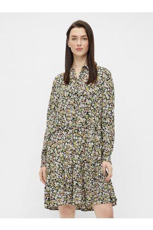 Pieces Zeleno-černé květované košilové šaty