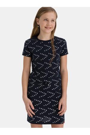 sam 73 Tmavě modré holčičí vzorované šaty se zavazováním