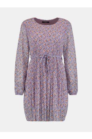 Zabaione Fialové květované plisované šaty