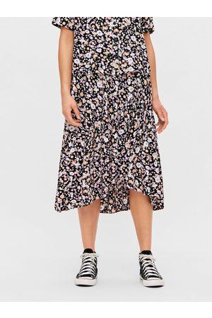 Pieces Fialovo- květovaná midi sukně Dua