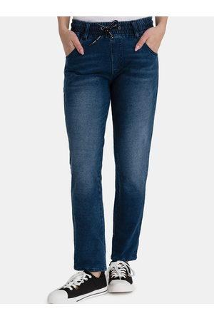 sam 73 Ženy Rovné nohavice - Tmavě modré dámské straight fit džíny