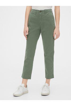 GAP Zelené dámské kalhoty straight khakis