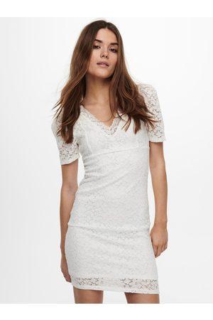 ONLY Bílé pouzdrové krajkové šaty Alba