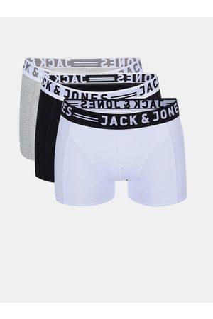 JACK & JONES Sada tří boxerek v šedé, bílé a černé barvě Sense